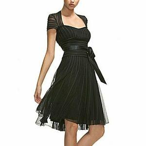 JS Collections Georgette Stripe Mesh Midi Dress